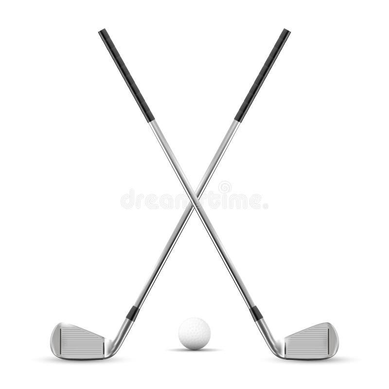 两个横渡的高尔夫俱乐部和球 库存例证