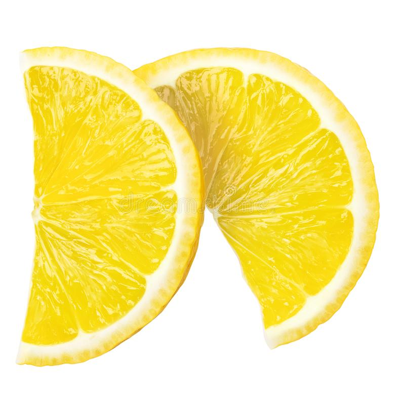 两个水多的切片新鲜的柠檬,裁减路线,在白色backgro 库存照片