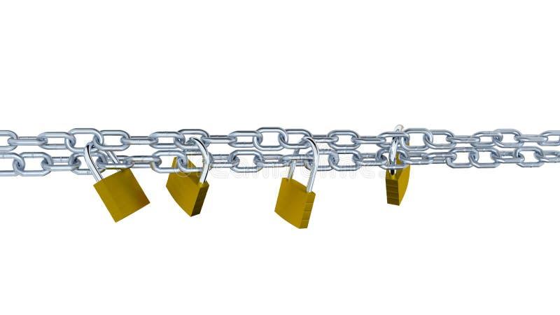 两个水平的金属链子锁与四挂锁 皇族释放例证