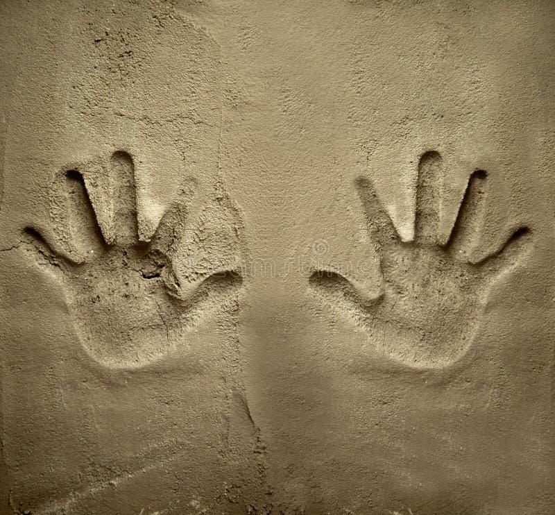 两个水泥现有量灰浆打印墙壁 免版税库存照片