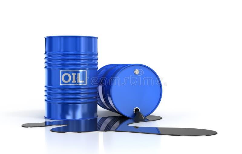 两个油桶和倾吐的油 免版税库存照片