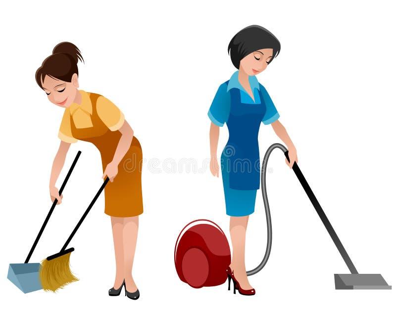 两个清洁女仆 皇族释放例证