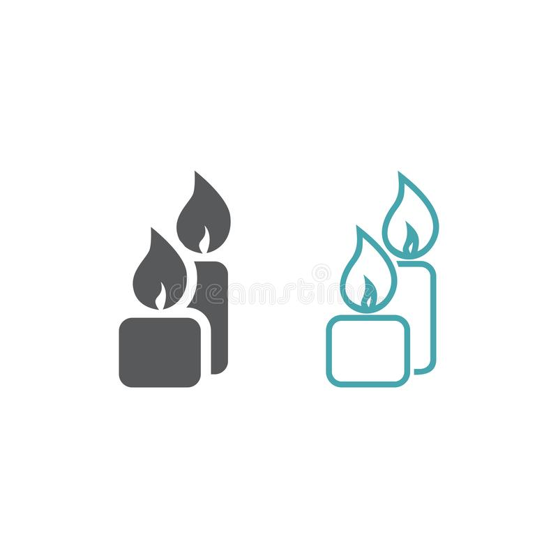 两个灼烧的蜡烛的传染媒介图片 库存例证