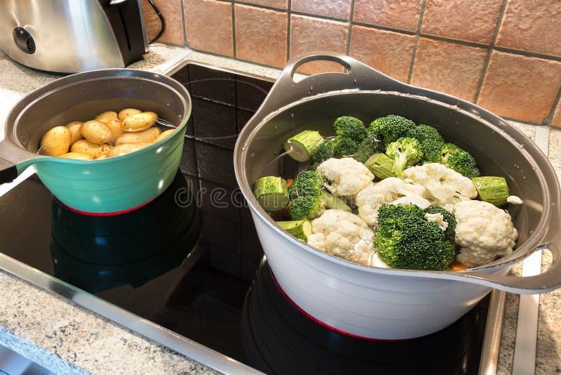 两个炖锅用婴孩土豆、硬花甘蓝和花椰菜 免版税库存图片