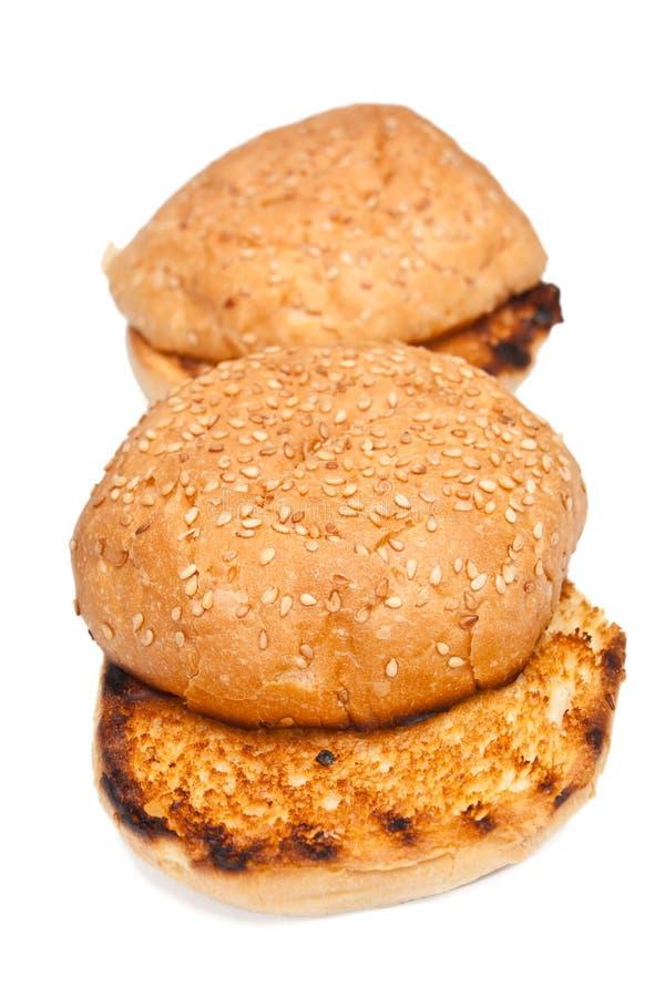 两个烤小圆面包 库存图片