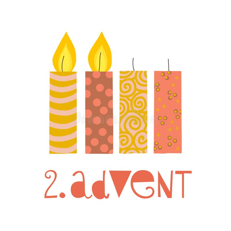 两个燃烧的出现蜡烛传染媒介例证 其次在出现的星期天 Zweiter出现德国文本 平的假日设计与 库存例证