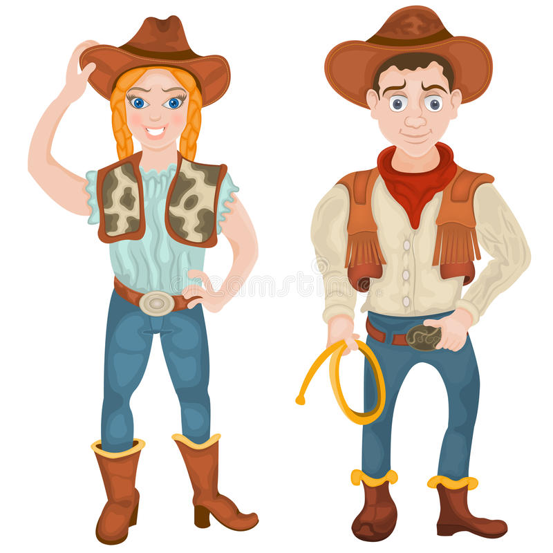 两个牛仔字符 库存例证