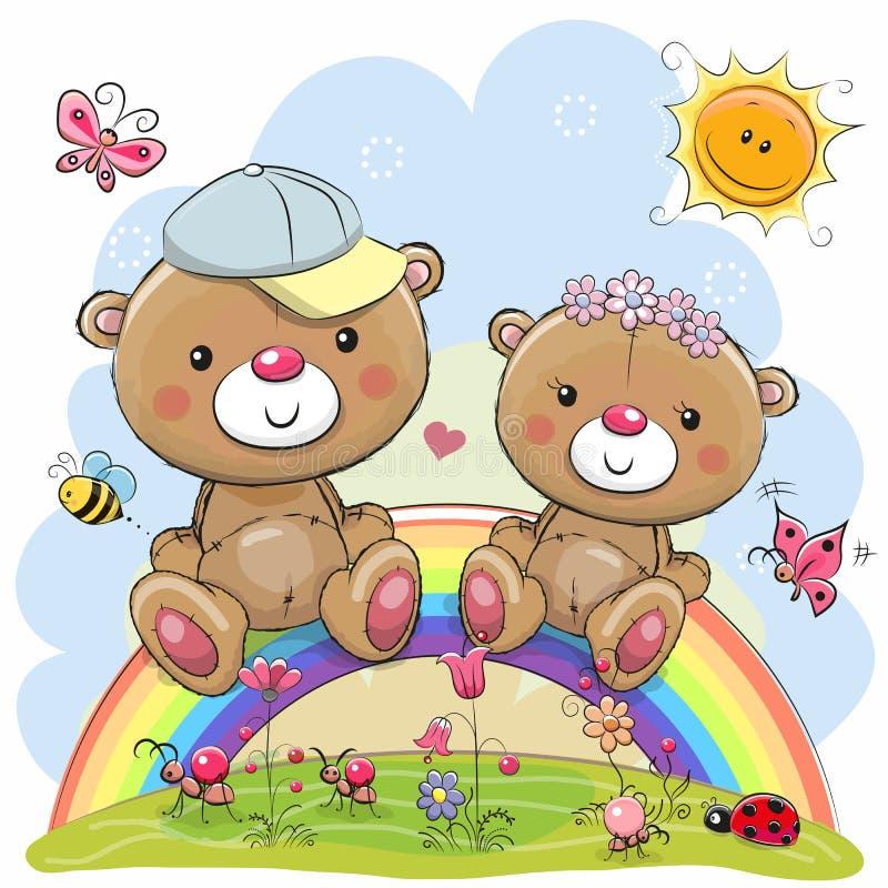 两个玩具熊坐彩虹 皇族释放例证