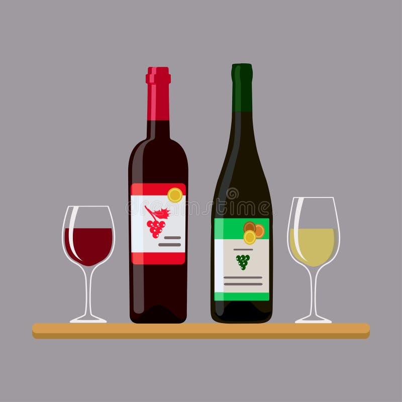 两个瓶喝酒和两块玻璃,隔绝在灰色背景 免版税图库摄影