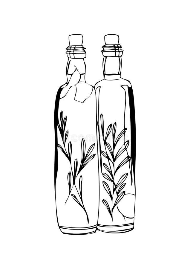 两个瓶在白色背景的橄榄油 库存图片