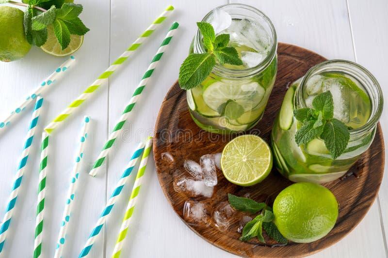 两个瓶子戒毒所浇灌与黄瓜、石灰和冰片断,装饰用新鲜的绿色薄菏分支  免版税图库摄影