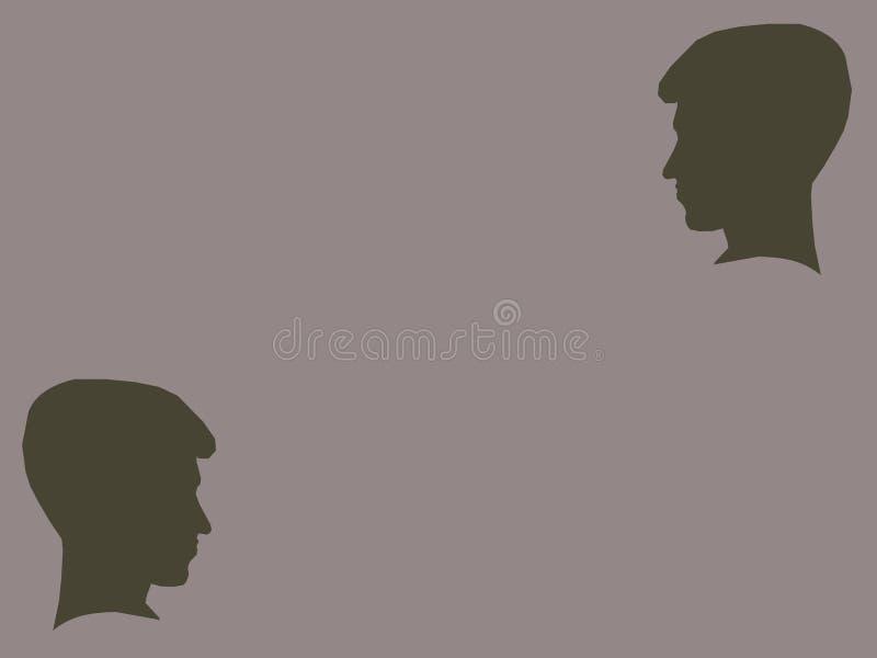 两个男孩剪影  向量例证