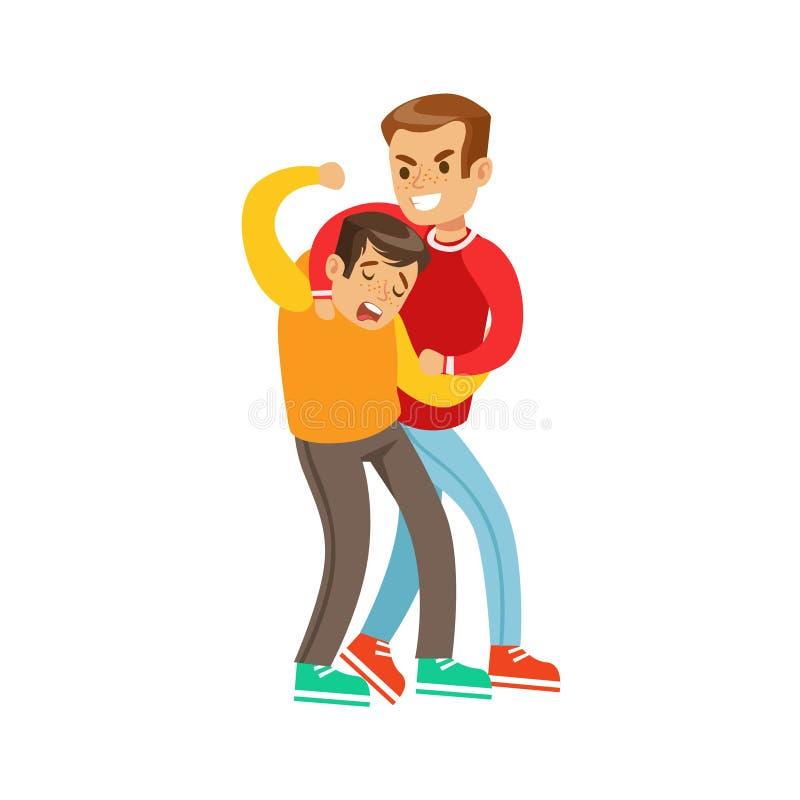 两个男孩拳头战斗位置,长的袖子红顶的积极的恶霸与另一个孩子战斗的使用扼杀的技术 皇族释放例证