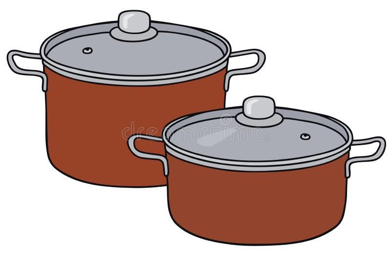 两个红色罐 库存例证