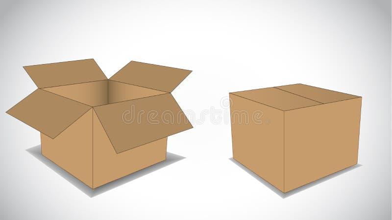两个纸板空的箱子例证概念 免版税库存照片