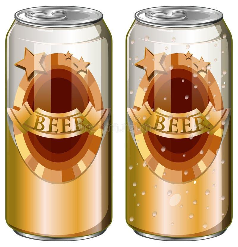 两个罐头啤酒 库存例证