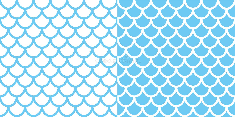 两个美人鱼样式的套 鱼鳞背景 您的设计的蓝色纹理 库存例证