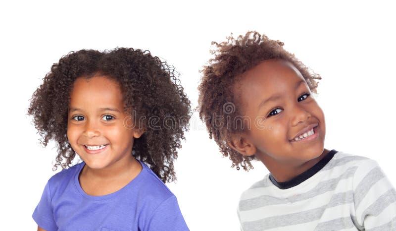 两个美国黑人的孩子 免版税库存照片