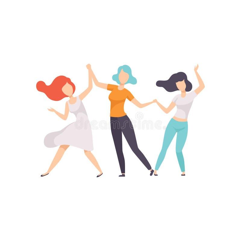 两个美女朋友获得乐趣一起在庆祝党,女性友谊传染媒介例证 库存例证