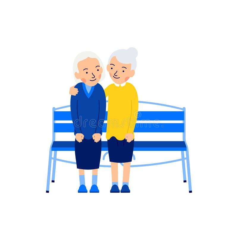 两个老妇人 年长女性人民   领抚恤金者坐长凳 愉快的退休 ?? 逗人喜爱的动画片 向量例证