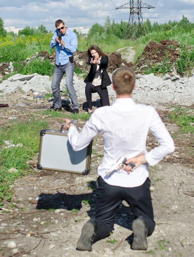两个联邦调查局特工违者的品行拘捕 库存照片