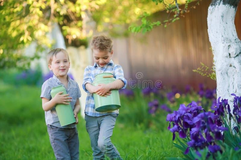 两个英俊的兄弟获得乐趣,当坐外面在庭院时 免版税库存图片