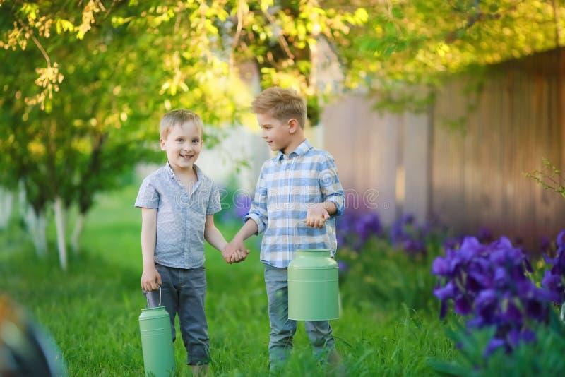 两个英俊的兄弟获得乐趣,当坐外面在庭院时 库存照片