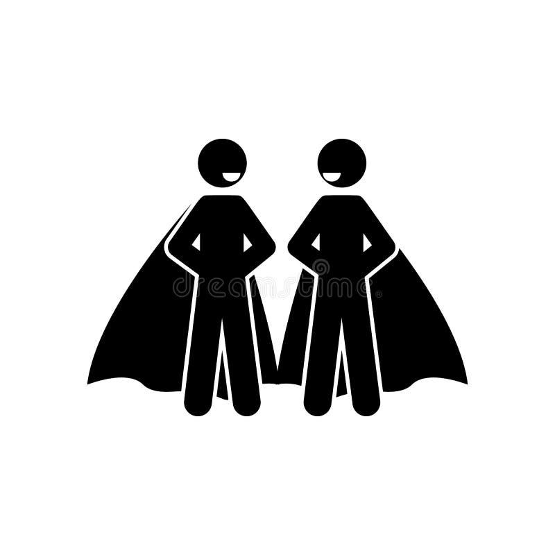 两个英雄象 超级英雄象的元素流动概念和网应用程序的 详述了象可以为网和机动性使用的两个英雄 向量例证