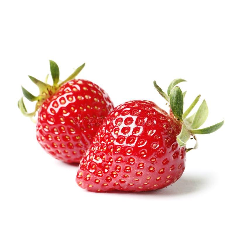 两个草莓在白色背景关闭  免版税库存照片
