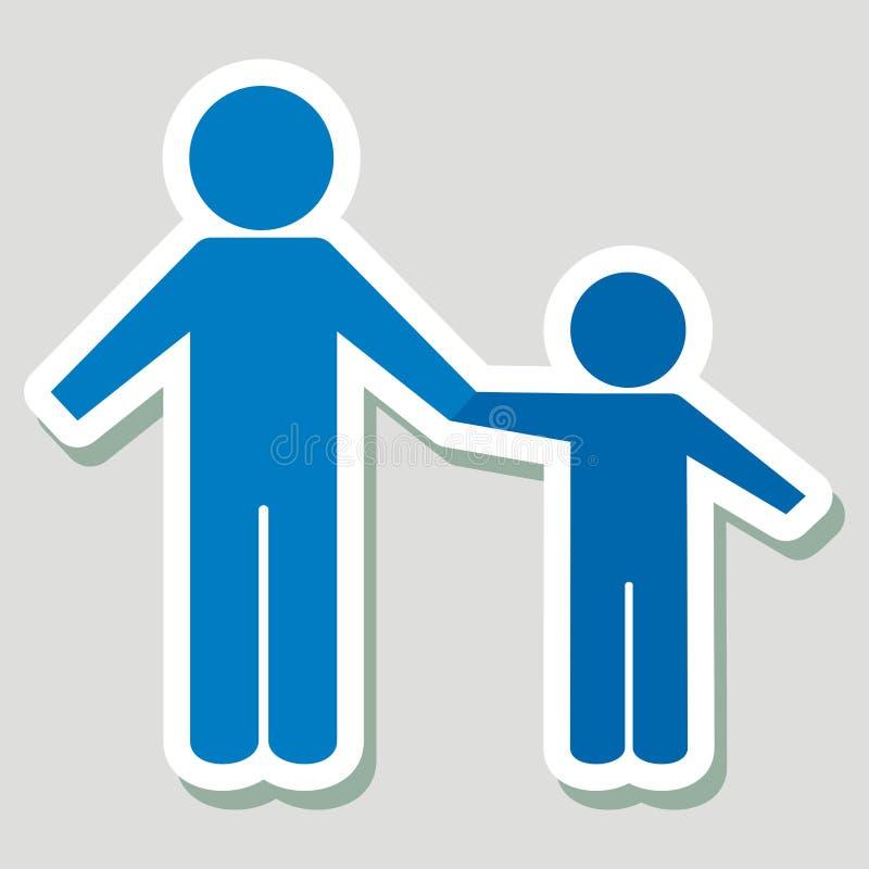 两个蓝色图、成人和孩子,传染媒介网象 库存例证
