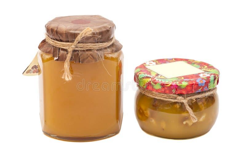 两个蜂蜜瓶子 库存照片