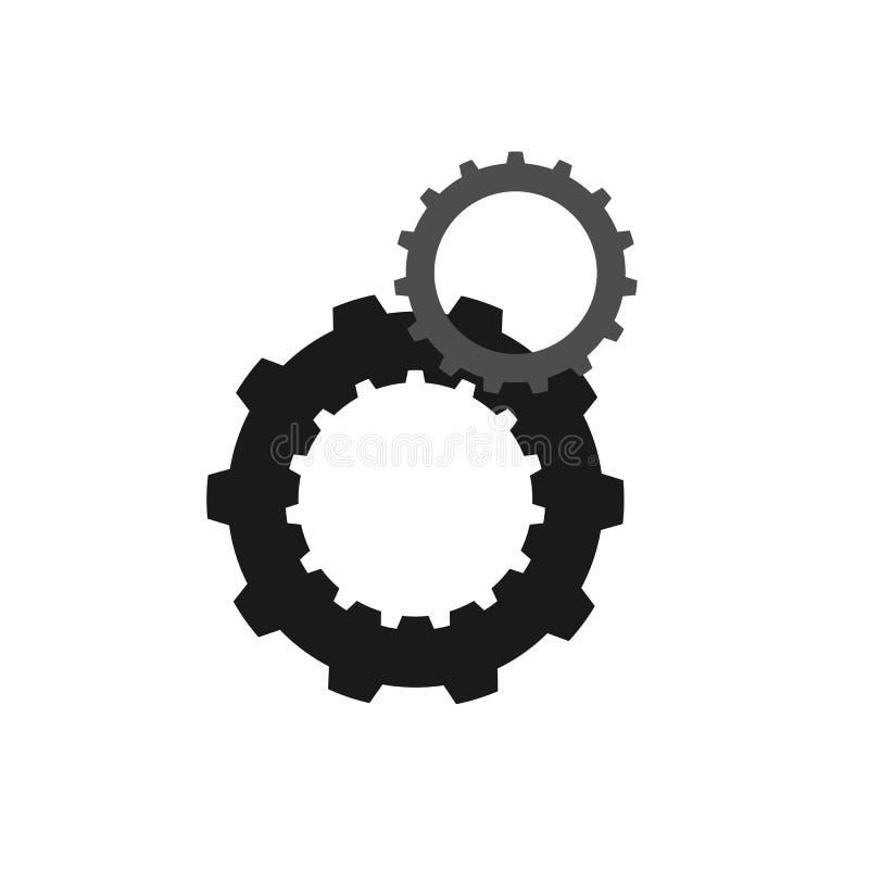 两个被连接的齿轮 库存例证