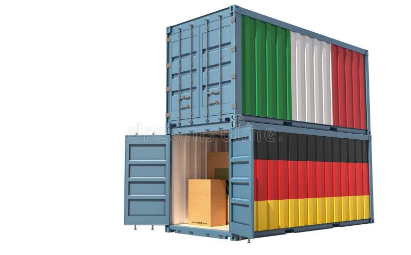 两个装有意大利和德国国旗的货运集装箱 白色隔离 皇族释放例证