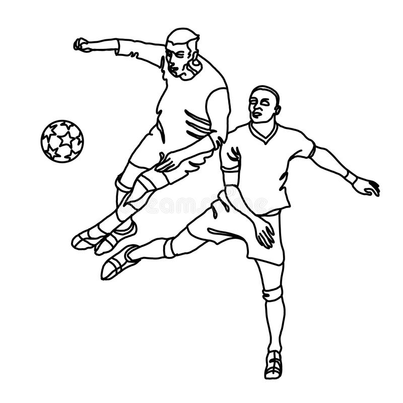 两个足球运动员为球战斗 向量例证