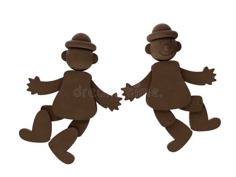 两个跳舞的小丑 向量例证