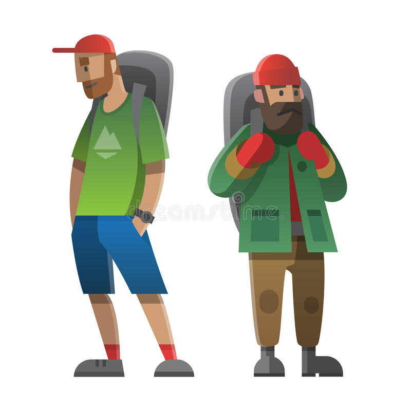 两个远足者和背包徒步旅行者 迁徙,远足,上升, travelin 向量例证