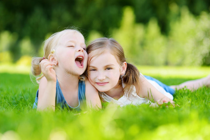 两个逗人喜爱的妹获得乐趣一起在草在夏日 库存照片