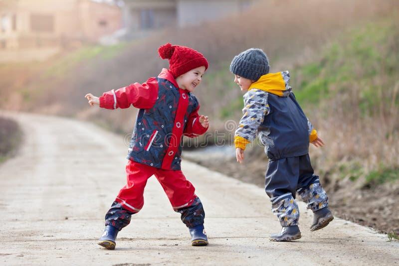 两个逗人喜爱的孩子,男孩兄弟,一起使用在公园, r 免版税库存图片