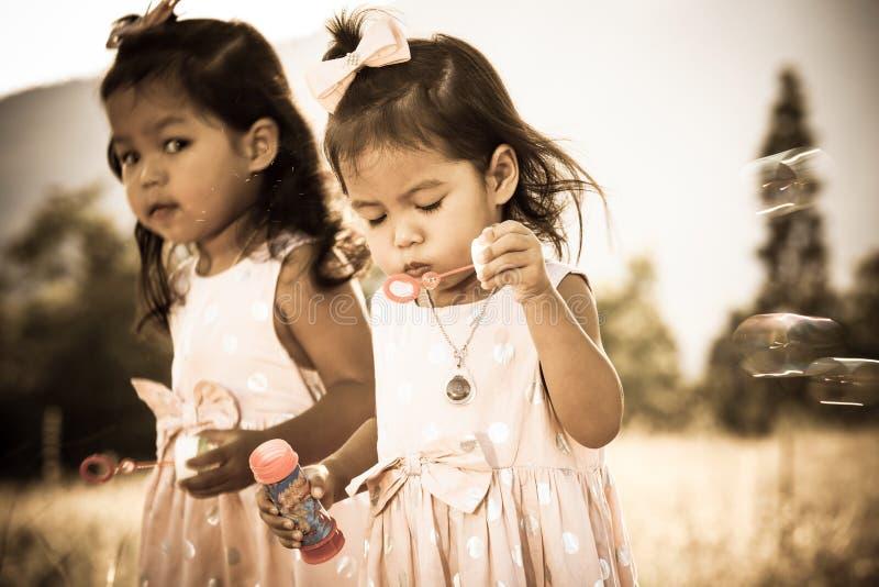 两个逗人喜爱的小女孩有乐趣吹的泡影在公园 图库摄影