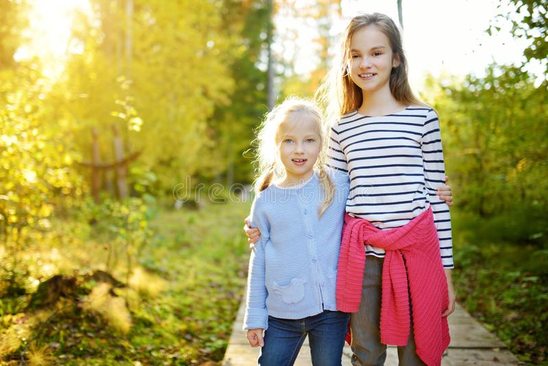 两个逗人喜爱的年轻姐妹获得乐趣在森林远足期间在美好的夏日 探索自然的孩子 活跃家庭休闲 库存图片