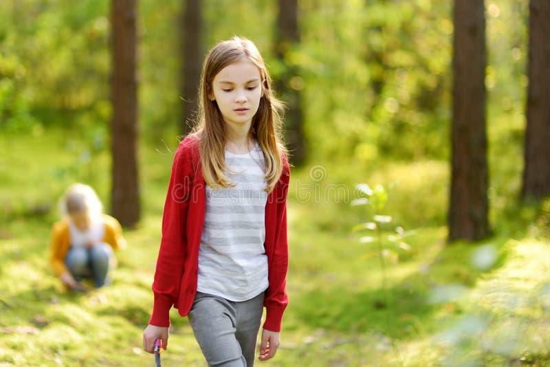 两个逗人喜爱的年轻姐妹获得乐趣在森林远足期间在美好的夏日 探索自然的孩子 活跃家庭休闲 免版税库存照片