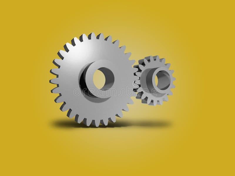 两个金属齿轮3D 库存例证