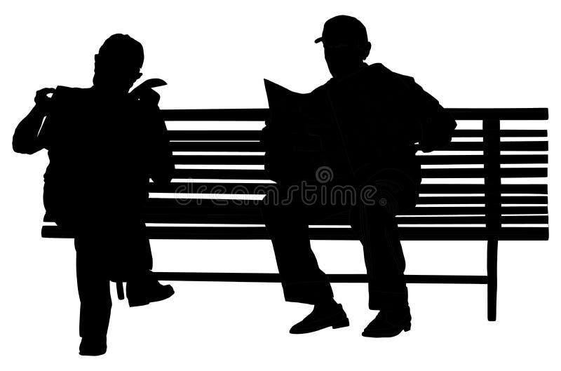 两个领抚恤金者在公园传染媒介剪影的长凳读了报纸 向量例证