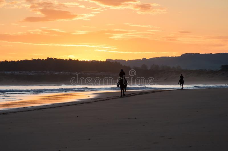 两个马车手剪影在一个海滩的在日出 Somo,西班牙 库存照片