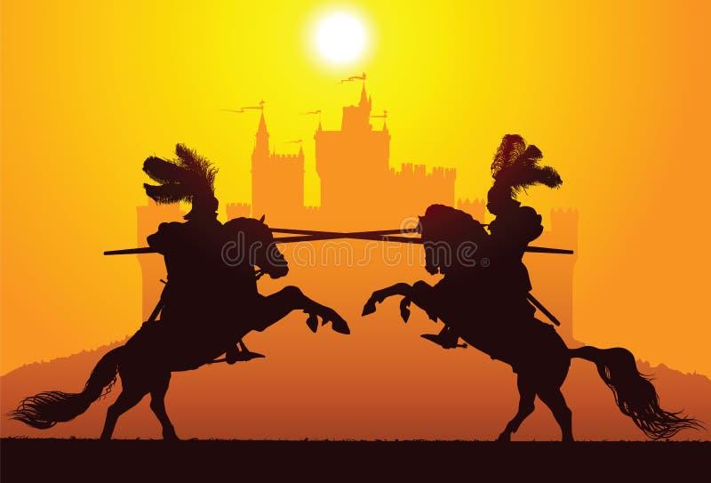 两个骑马骑士 向量例证