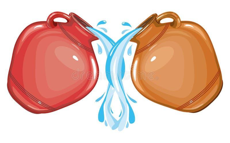 两个黏土水罐水,倾吐的水,例证 皇族释放例证