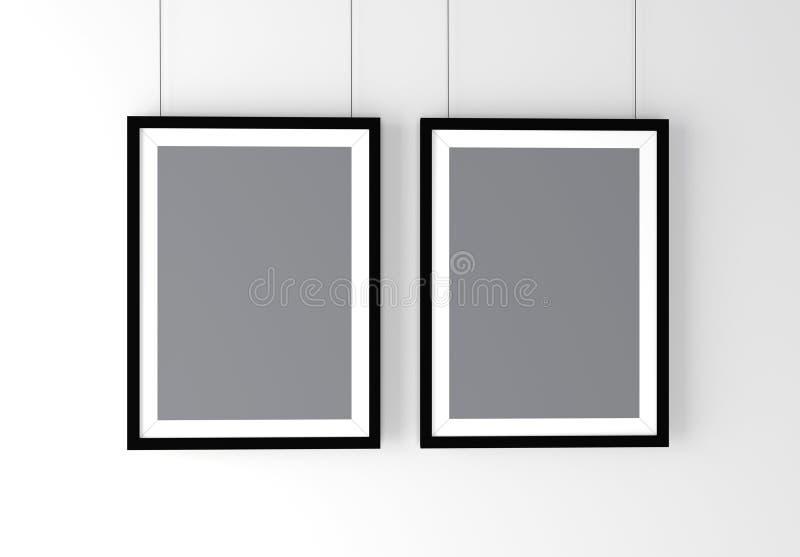 两个黑照片框架大模型 高分辨率3D回报 免版税库存图片