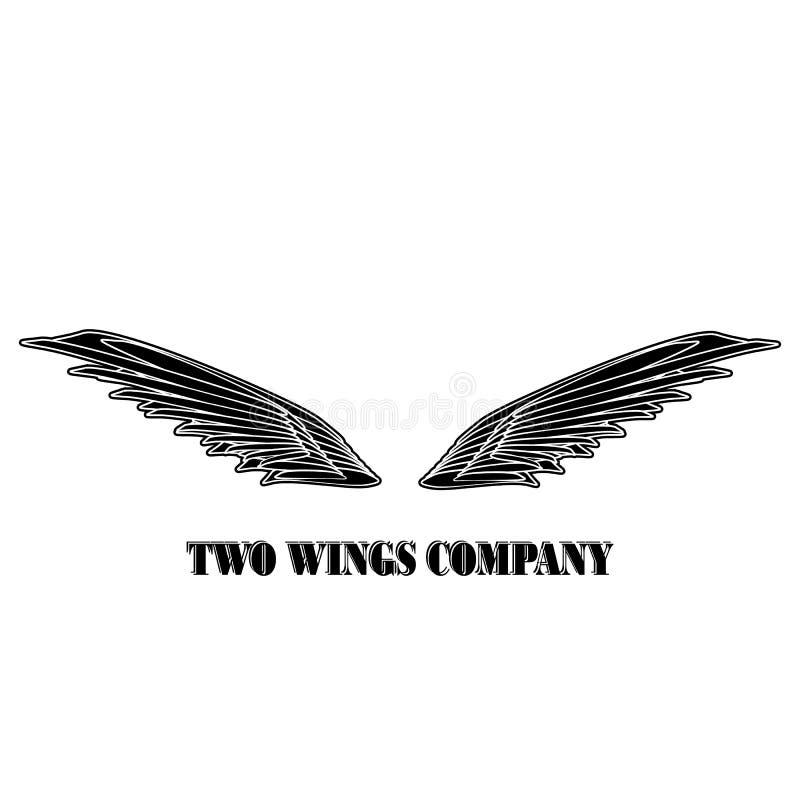 两个黑翼商标公司 有白色条纹传染媒介的eps10两个翼 皇族释放例证