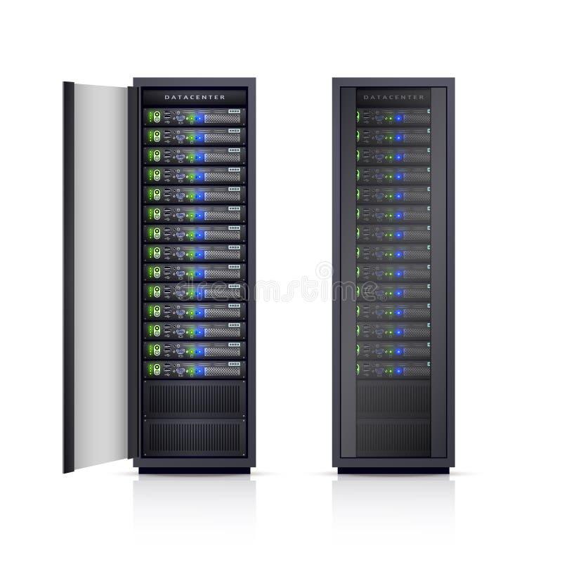 两个黑服务器机架现实例证 向量例证