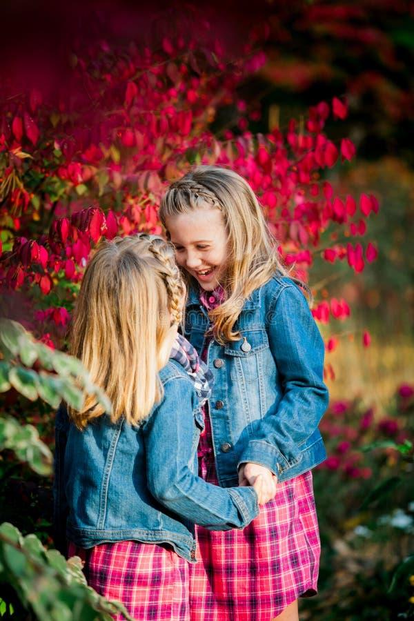 两个年轻白种人姐妹 免版税库存照片